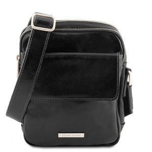 Front View Of The Black Mens Crossbody Bag