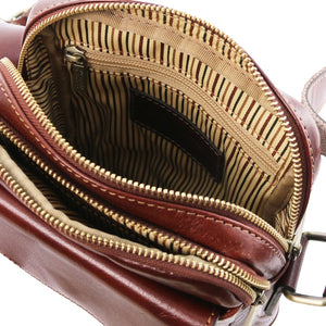 Internal Zipper Pocket View Of The Brown Mens Crossbody Bag