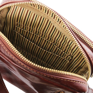 Internal Pocket View Of The Brown Mens Crossbody Bag