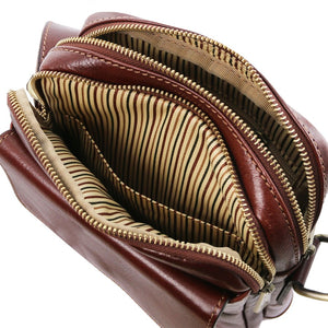 Internal Compartments View Of The Brown Mens Crossbody Bag