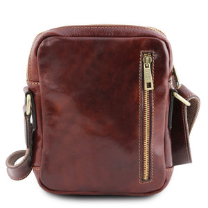 Rear View Of The Brown Mens Crossbody Bag