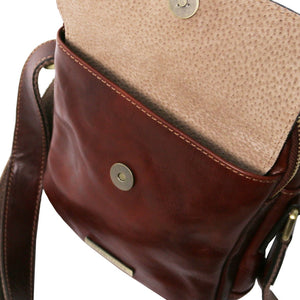Front Pocket Opening View Of The Brown Mens Crossbody Bag