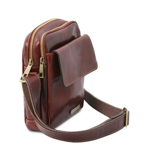 Angled And Shoulder Strap View Of The Brown Mens Crossbody Bag