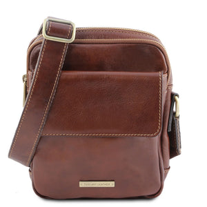 Front View Of The Brown Mens Crossbody Bag