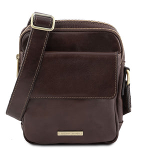 Front View Of The Dark Brown Mens Crossbody Bag