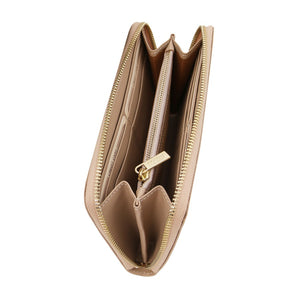 Top Angled View Of The Interior Of The Champagne Leather Accordion Wallet