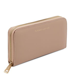 Angled View Of The Champagne Leather Accordion Wallet