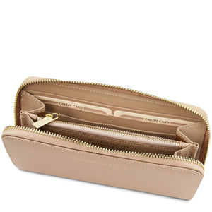 Angled Open Wallet View Of The Champagne Leather Accordion Wallet