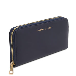 Angled View Of The Dark Blue Leather Accordion Wallet