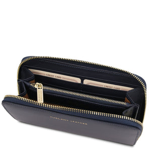 Angled Open Wallet View Of The Dark Blue Leather Accordion Wallet