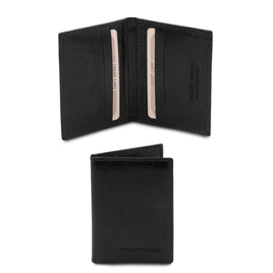 Front View Of The Black Leather Card Holder