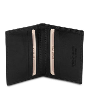 Open View Of The Black Leather Card Holder