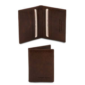 Front View Of The Dark Brown Leather Card Holder