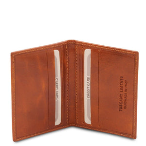 Open View Of The Honey Leather Card Holder