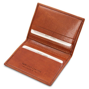 Angled View Of The Honey Leather Card Holder