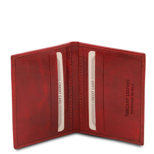 Open View Of The Red Leather Card Holder