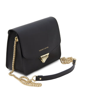 Angled And Shoulder Strap View Of The Black Leather Clutch