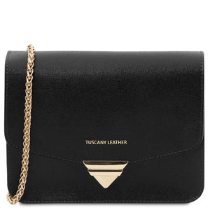 Front View Of The Black Leather Clutch