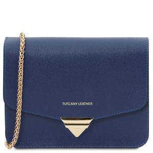 Front View Of The Dark Blue Leather Clutch