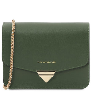 Front View Of The Forest Green Leather Clutch