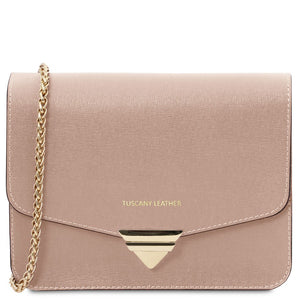 Front View Of The Nude Leather Clutch