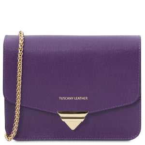 Front View Of The Purple Leather Clutch