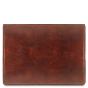 Front View Of The Brown Leather Desk Pad Of The Leather Desk Set