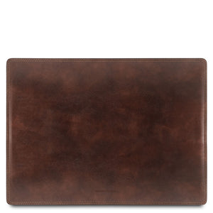 Front View Of The Dark Brown Leather Desk Pad Of The Leather Desk Set