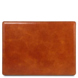 Front View Of The Honey Leather Desk Pad Of The Leather Desk Set