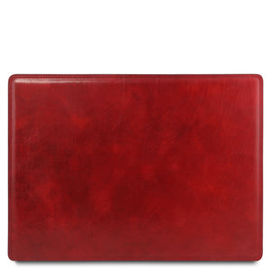 Front View Of The Red Leather Desk Pad Of The Leather Desk Set