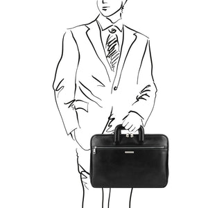 Man posing with The Black Leather Document Briefcase