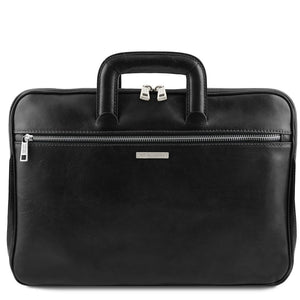 Front View Of The Black Leather Document Briefcase