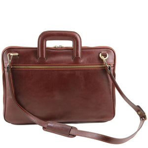 Detachable Shoulder Strap View Of The Brown Leather Document Briefcase