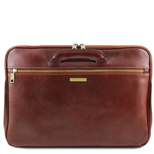 Retractable Handle View Of The Brown Leather Document Briefcase