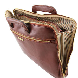 Versatile Zipper View Of The Brown Leather Document Briefcase