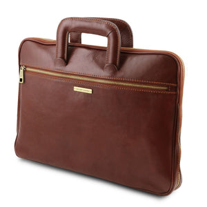 Angled View Of The Brown Leather Document Briefcase