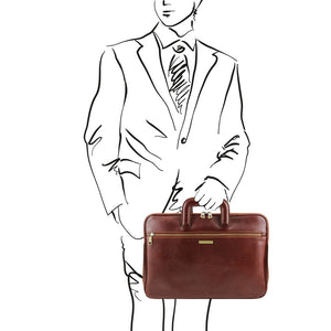 Man posing with The Brown Leather Document Briefcase