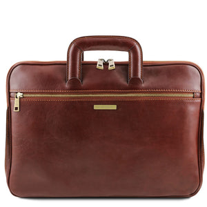 Front View Of The Brown Leather Document Briefcase