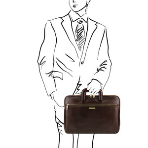 Man posing with The Dark Brown Leather Document Briefcase