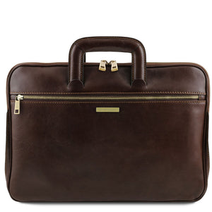 Front View Of The Dark Brown Leather Document Briefcase