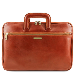 Front View Of The Honey Leather Document Briefcase