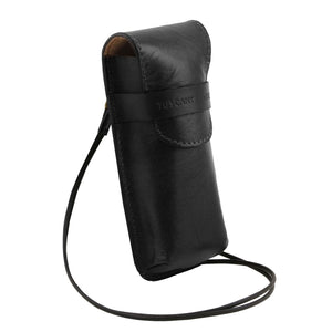 Angle View Of The Black Leather Eyeglasses Case