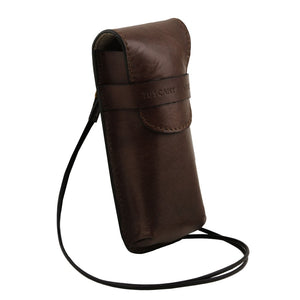 Angle View Of The Dark Brown Leather Eyeglasses Case