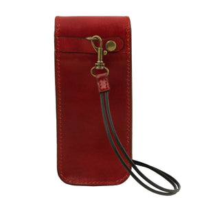 Rear Strap Attachment View Of The Red Leather Eyeglasses Case