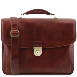 Front View Of The Brown Leather Laptop Briefcase