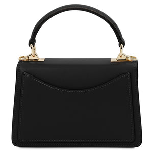 Rear View Of The Black Leather Mini Handbag