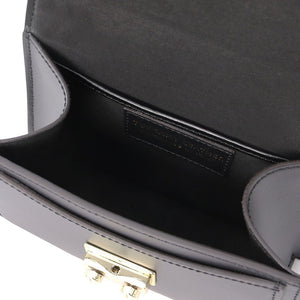 Internal Compartment View Of The Black Leather Mini Handbag