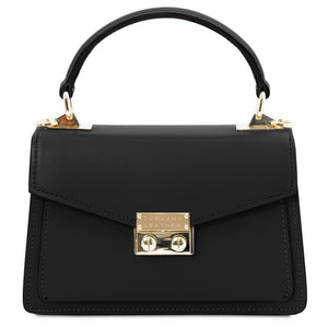 Front View Of The Black Leather Mini Handbag