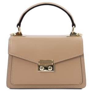 Front View Of The Champagne Leather Mini Handbag