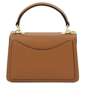 Rear View Of The Cognac Leather Mini Handbag